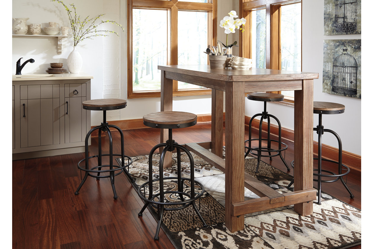 Pinnadel Bar Table w/ 4 Tall Swivel Stools