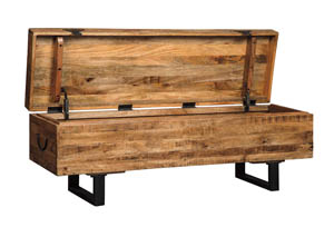 Glosco Brown Storage Dining Bench