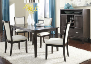 Trishelle Rectangular Dining Table w/4 Cream Upholstered Side Chairs