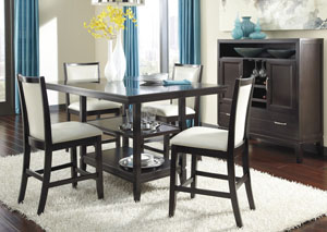 Trishelle Rectangular Counter Table w/4 Cream Upholstered Barstools,Ashley