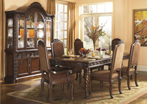 North Shore Extension Table w/4 Upholstered Side Chairs, 2 Arm Chairs, Buffet & China