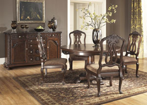 North Shore Round Pedestal Table w/4 Side Chairs & Server