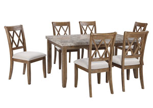 Narvilla Light Brown Rectangular Dining Room Table w/6 Side Chairs
