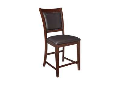 Collenburg Dark Brown Upholstered Barstool (Set of 2),Signature Design by Ashley