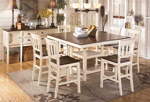 Whitesburg Square Counter Extension Table w/ 6 Stools
