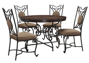 Brulind Brown Round Dining Room Table w/4 Side Chairs
