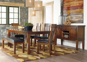 Ralene Rectangular Extension Table w/ 4 Upholstered Side Chairs, Bench & Server,Signature Design by Ashley
