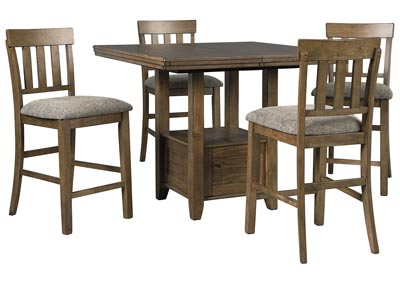Flaybern Brown Counter Height Table w/4 Bar Stools