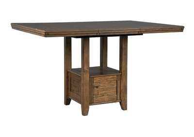 Flaybern Brown Rectangular Counter Extension Dining Table w/18