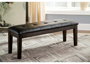 Haddigan Dark Brown Large Upholstered Dining Bench,Signature Design by Ashley