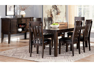 Haddigan Dark Brown Rectangle Dining Room Extension Table w/6 Upholstered Side Chairs & Server