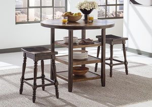 Moriann Round Counter Table w/2 Stools