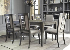 Chadoni Gray Rectangular Dining Room Extension Table w/6 Upholstered Side Chairs