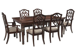 Leahlyn Reddish Brown Rectangular Dining Room Extension Table w/ 2 Arm Chairs and 4 Side Chairs