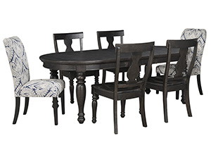 Sharlowe Charcoal Oval Dining Room Extension Table w/4 Side Chairs and 2 Upholstered Side Chairs