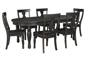 Sharlowe Charcoal Oval Dining Room Extension Table w/4 Side Chairs