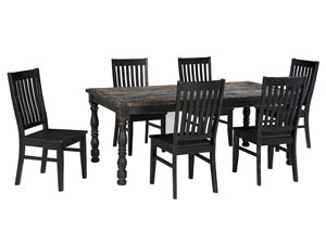 Clayco Bay Black/Gray Rectangular Dining Room Table w/4 Side Chairs