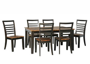 Quinley Two-Tone Brown Rectangular Dining Room Butterfly Extension Table w/6 Side Chairs