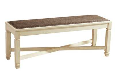 Bolanburg Antique White Large Upholstered Dining Bench,Signature Design by Ashley