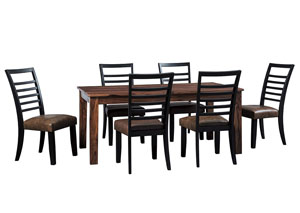 Manishore Brown Rectangular Dining Room Table w/6 Upholstered Side Chairs