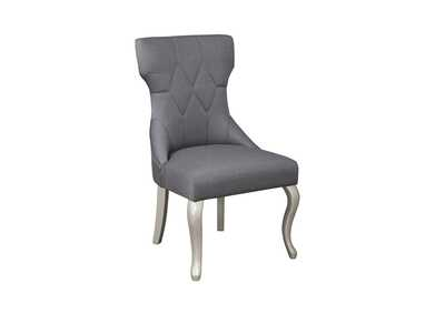 Coralayne Silver Finish Dining Upholstered Side Chair (Set of 2)