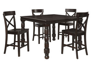 Gerlane Dark Brown Rectangular Extension Dining Room Counter Table w/4 Barstools
