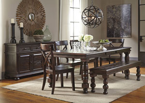Gerlane Dark Brown Rectangular Dining Room Extension Table w/4 Side Chairs, Bench & Server