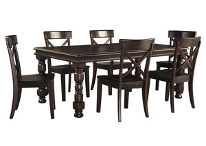 Gerlane Dark Brown Rectangular Dining Room Extension Table w/6 Side Chairs