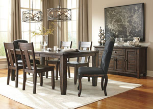 Trudell Golden Brown Rectangular Dining Room Extension Table w/2 Upholstered Side Chairs, 4 Side Chairs & Server