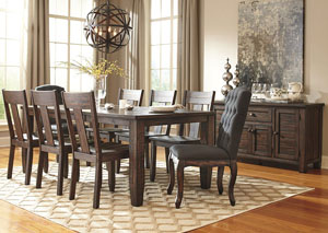 Trudell Golden Brown Rectangular Dining Room Extension Table w/2 Upholstered Side Chairs, 6 Side Chairs & Server