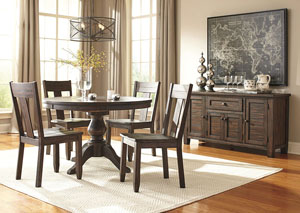 Trudell Golden Brown Round Dining Room Extension Pedestal Table w/4 Side Chairs & Server