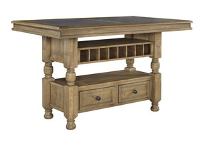Trishley Light Brown Rectangular Counter Height Table w/Storage