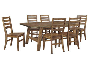 Dondie Warm Brown Rectangular Dining Room Table w/6 Side Chairs