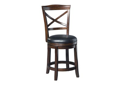 Porter Rustic Brown Upholstered Swivel Barstool (Set of 2)