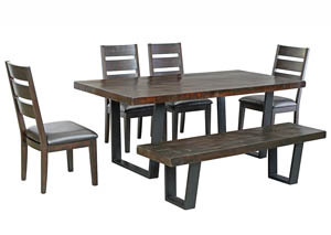 Parlone Dark Brown Rectangular Dining Room Table w/4 Upholstered Side Chairs & Bench