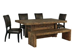 Sommerford Brown Rectangular Dining Room Table w/4 Side Chairs & Bench