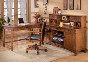 Cross Island L-Shape Desk w/ Credenza & Low Hutch