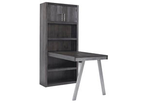 Raventown Grayish Brown Large Bookcase w/Desk Return,Signature Design By Ashley