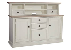 Sarvanny Two-tone Large Credenza Home Office Short Desk Hutch
