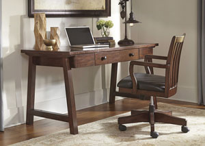 Wassner Dark Brown Home Office Large Leg Desk w/Swivel Desk Chair,Signature Design by Ashley