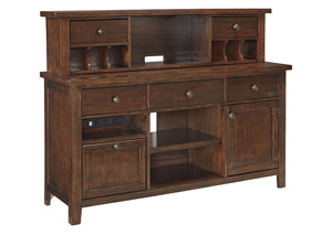 Wassner Dark Brown Large Credenza w/Hutch,Signature Design by Ashley