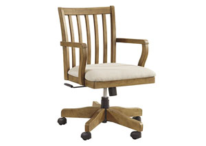 Trishley Light Brown Home Office Swivel Desk Chair