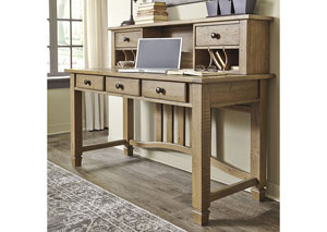 Trishley Light Brown Home Office Desk w/Hutch