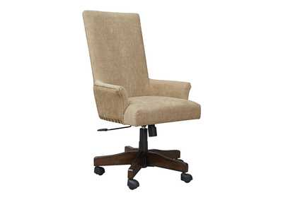 Image for Baldridge Rustic Brown Upholstered Swivel Desk Chair