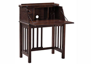 Harpan Reddish Brown Home Office Drop Front Desk