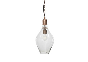 Gaenor Clear/Copper Finish Glass Pendant Light
