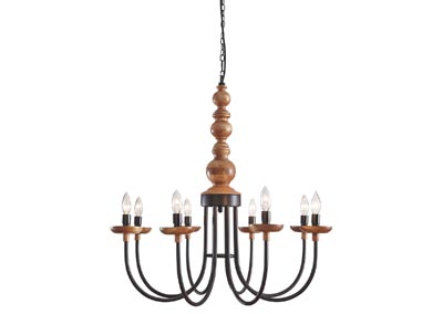 Fabrice Black/Natural Metal Pendant Light