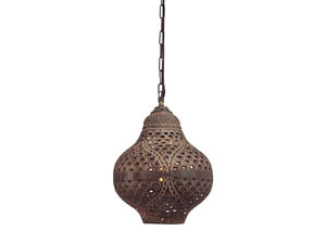 Jonelle Antique Brown Metal Pendant Light