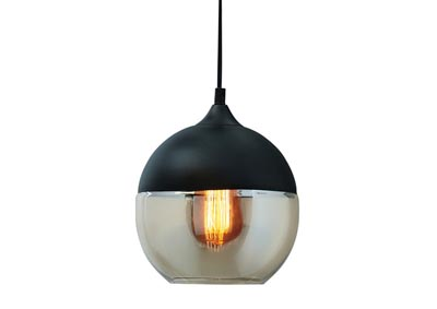 Williamina Champagne/Black Glass Pendant Light
