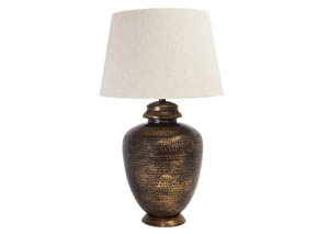 Sarice Antique Brass Finish Metal Table Lamp,48 Hour Quick Ship